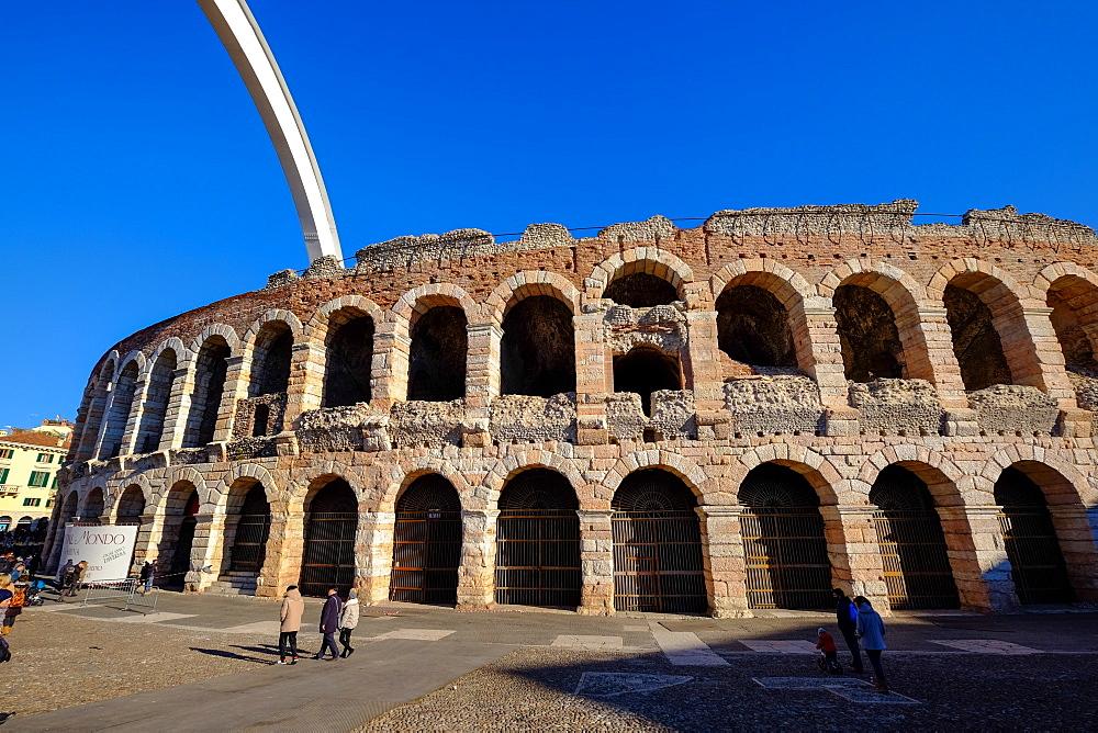 Verona Arena, Roman amphitheatre, in Piazza Bra in Verona, Veneto, Italy, Europe