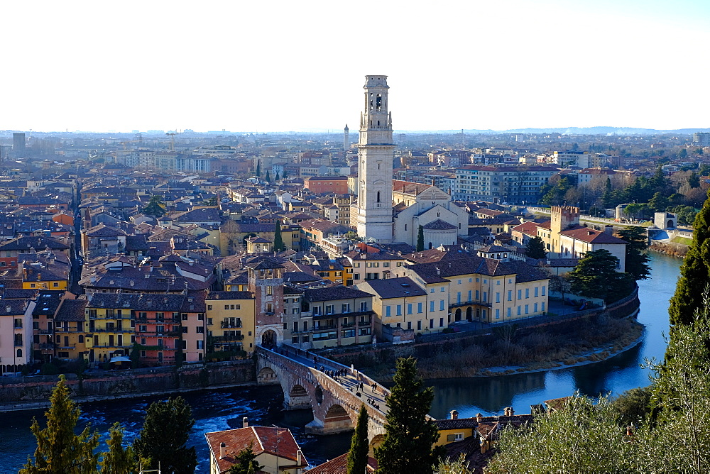 Panoramic view of Verona from Castel San Pietro, Verona, Veneto, Italy, Europe
