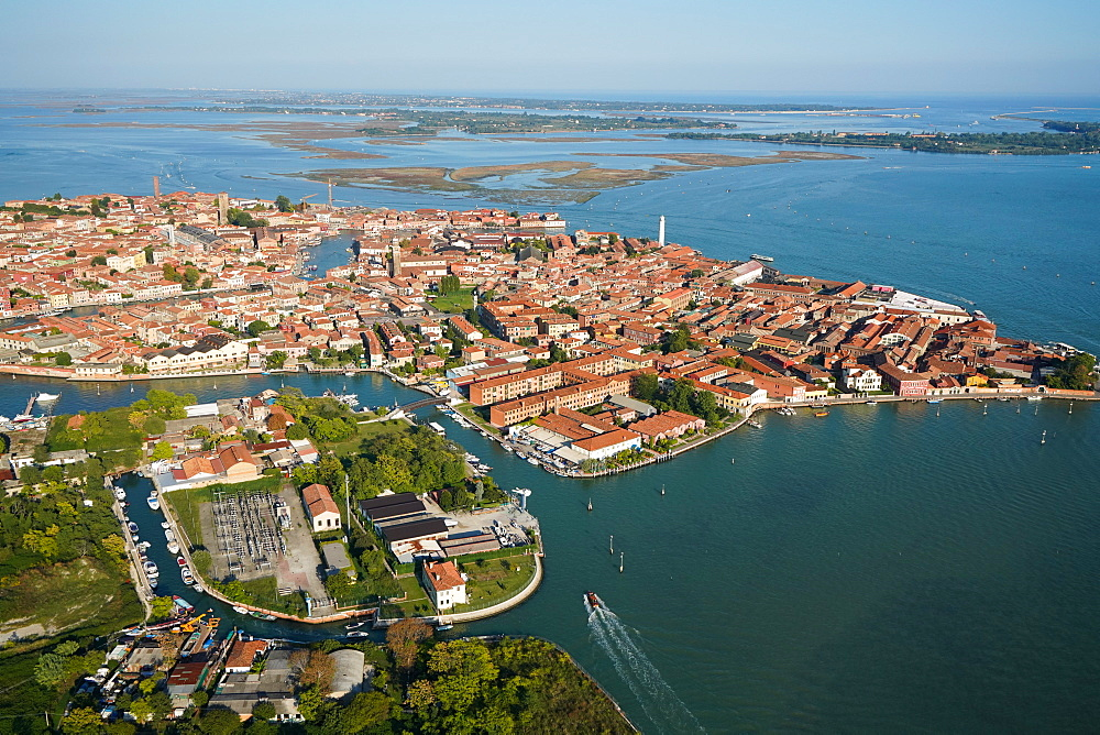 View of Murano island from the helicopter, Venice Lagoon, UNESCO World Heritage Site, Veneto, Italy, Europe