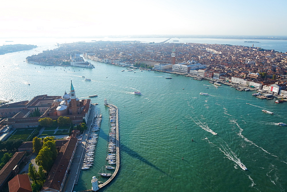 View of Venice and San Giorgio island from the helicopter, Venice Lagoon, UNESCO World Heritage Site, Veneto, Italy, Europe
