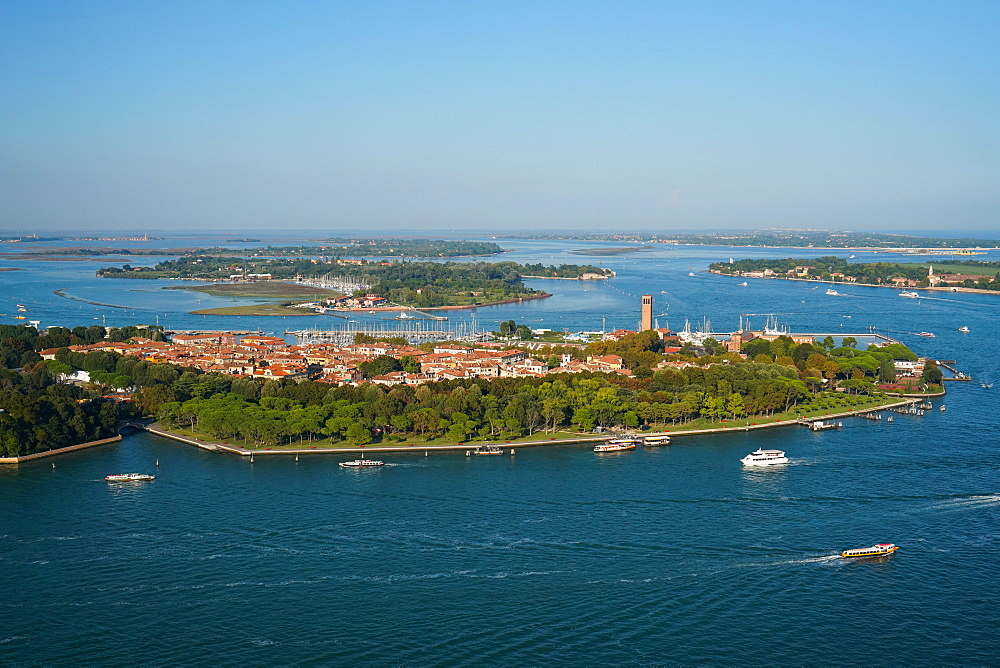 View of Sant'Elena island from the helicopter, Venice Lagoon, UNESCO World Heritage Site, Veneto, Italy, Europe