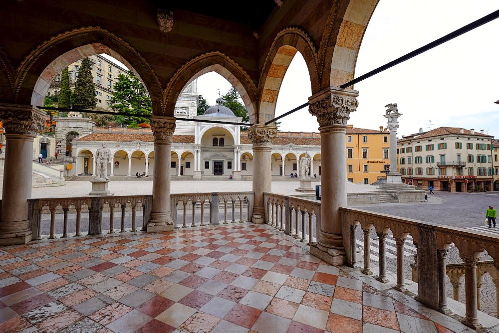 The Arcades of Loggia del Lionello and Loggia di San Giovanni, Piazza della Liberta, Udine, Friuli Venezia Giulia, Italy, Europe
