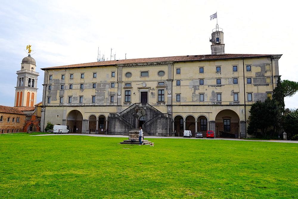 Udine Castle and Santa Maria al Castello bell tower, Udine, Friuli Venezia Giulia, Italy, Europe