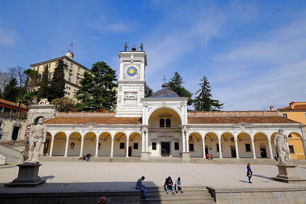 Loggia di San Giovanni and the Clock Tower, Piazza della Liberta, Udine, Friuli Venezia Giulia, Italy, Europe