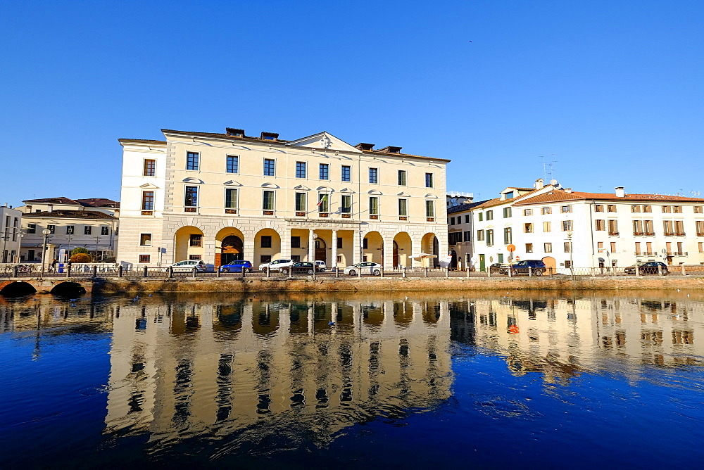 The University headquarters in Treviso, Riviera Garibaldi, Sile river, Treviso, Veneto, Italy, Europe - 819-941