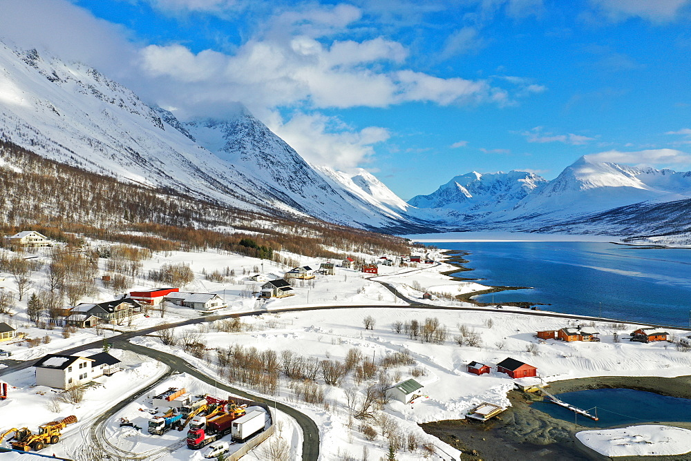 Drone view of Nordlenangen, Lyngen peninsula, Troms County, Norway, Scandinavia, Europe