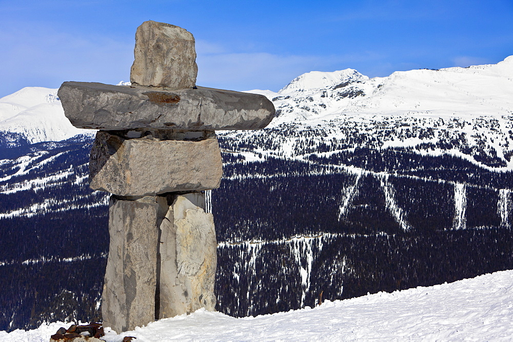 Inukshuk, symbol of friendship and welcome and the 2010 Winter Olympic Games, Whistler Mountain, Whistler Blackcomb Ski Resort, Whistler, British Columbia, Canada, North America - 821-146