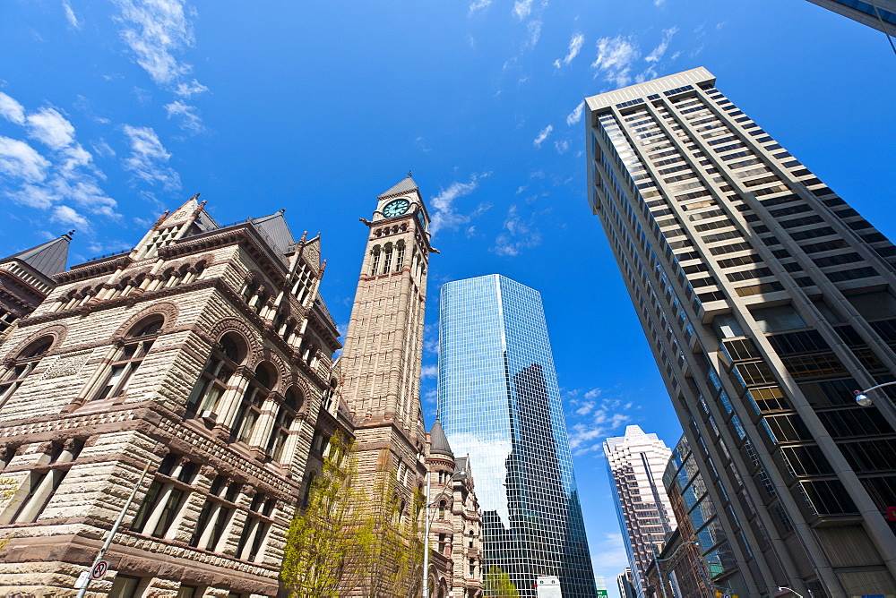Old City Hall contrasting with modern skyscrapers, Toronto, Ontario, Canada, North America - 821-165