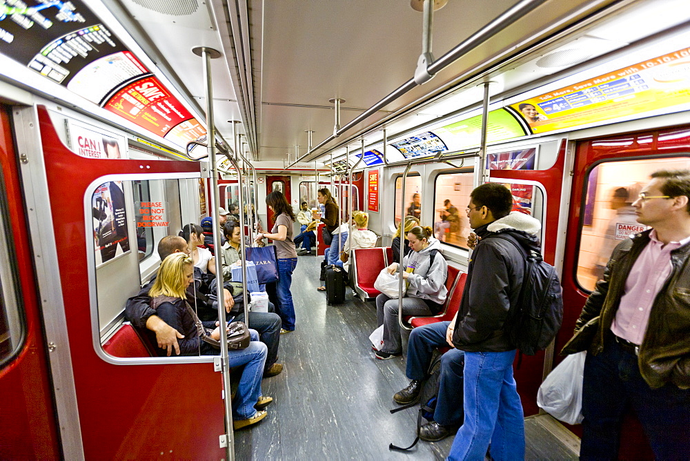 Interior of subway train, Toronto, Ontario, Canada, North America - 821-170