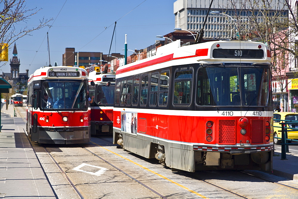 The 510 streetcar is one of eleven remaining streetcar routes in Toronto, Sadina Avenue, Toronto, Ontario, Canada, North America - 821-188