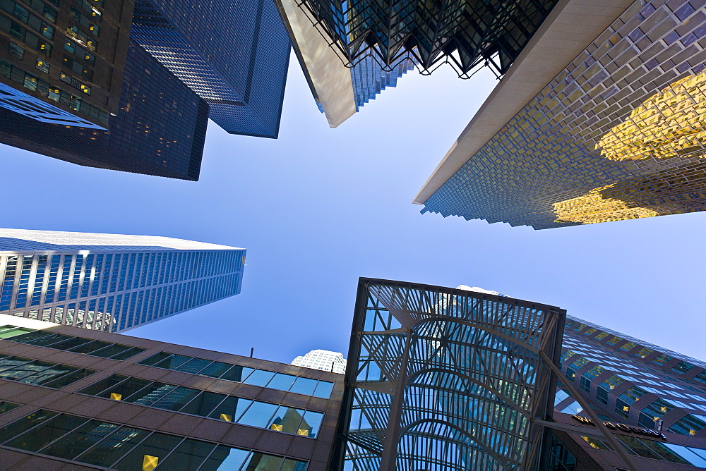 Low angle view of skyscrapers, Bay Street, Toronto, Ontario, Canada, North America - 821-198