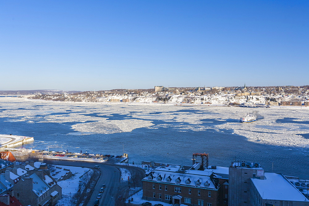 Ferry crossing the St. Lawrence River in winter, Quebec City, Quebec, Canada, North America - 821-240