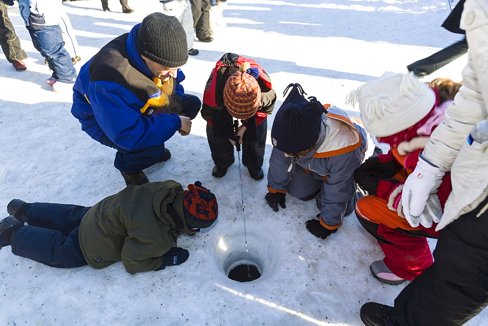 Ice fishing, Quebec Winter Carnival, Quebec City, Quebec, Canada, North America - 821-242