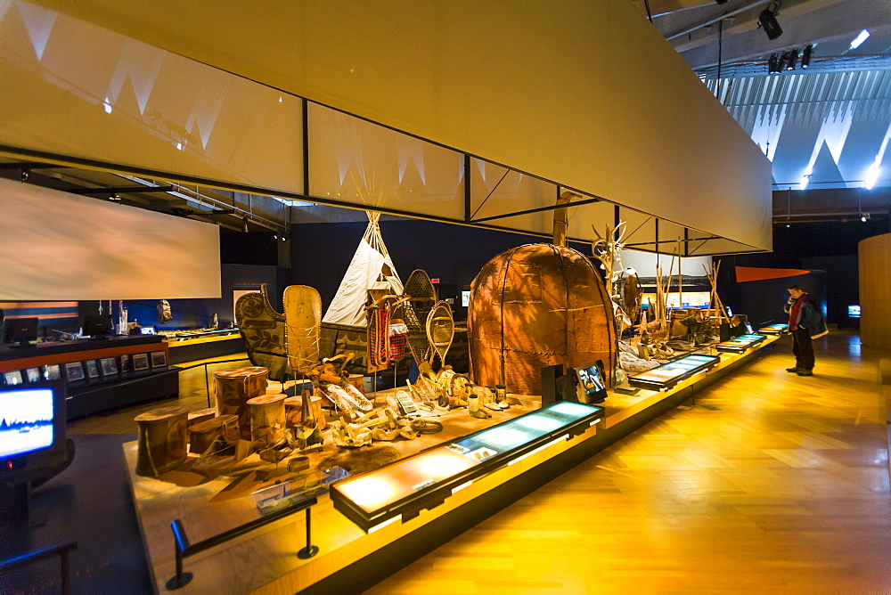 Dispaly of First Nations artifacts, Museum of Civilization, Quebec City, Quebec, Canada, North America - 821-249