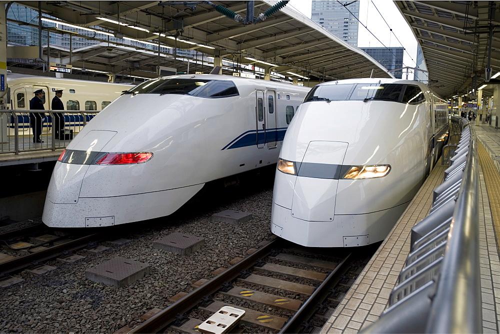 Series 300 Shinkansen bullet trains waiting at Tokyo Station, Tokyo, Japan - 822-1