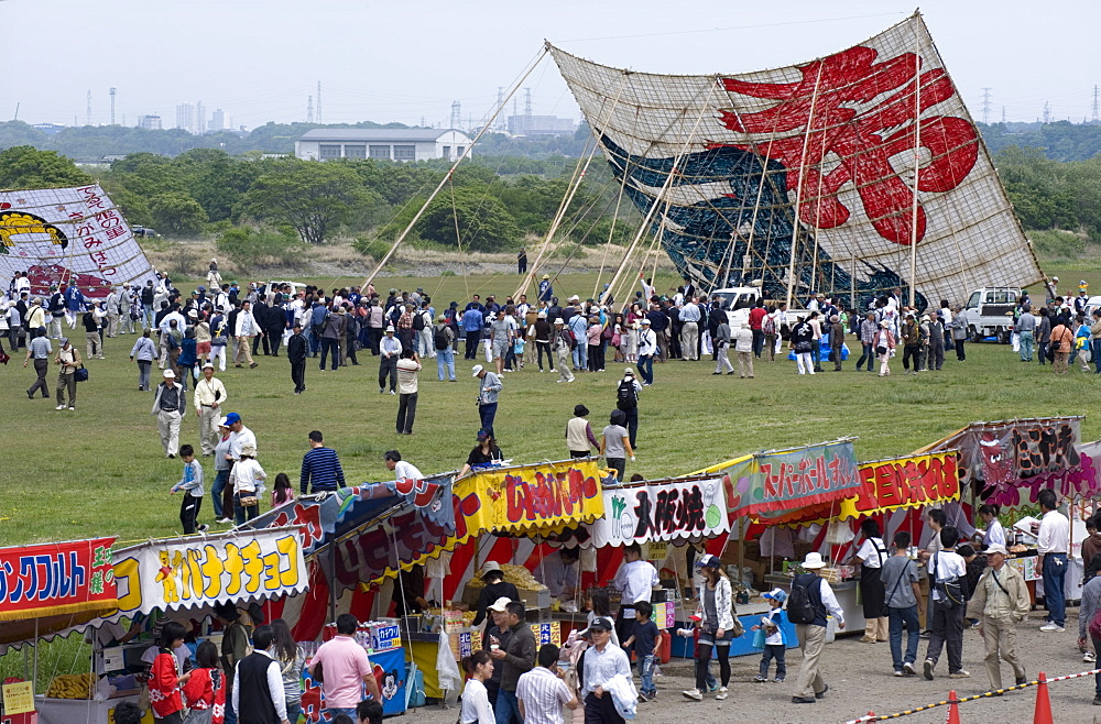 Sagami Kite Festival which boasts the largest kite in Japan at over 14  meters square and 1000 kg in weight, Sagamihara, Kanagawa, Japan, Asia - 822-157