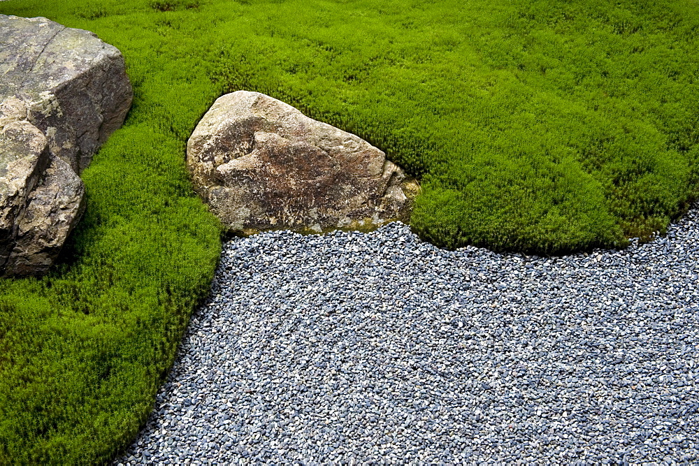 Carefully manicured moss highlights a rock garden at Sanzenin Temple in Ohara, Kyoto, Japan, Asia - 822-230