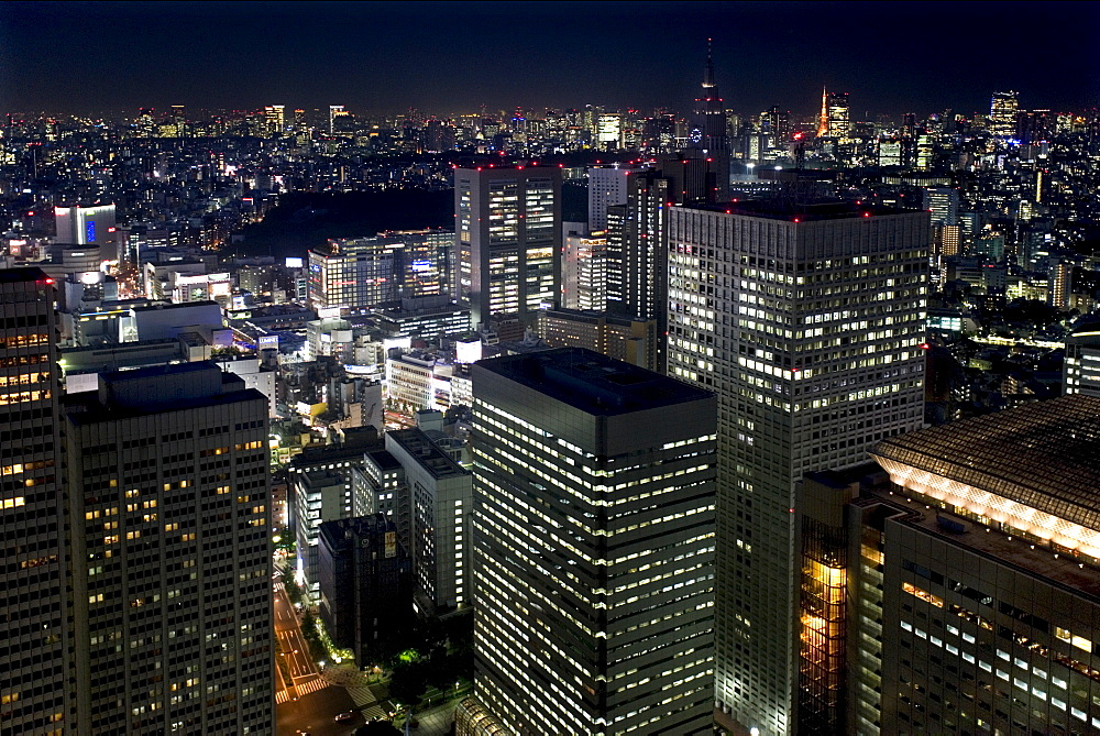 Night skyline view of Tokyo's endless urban sprawl and development near South Shinjuku, Tokyo, Japan, Asia - 822-237