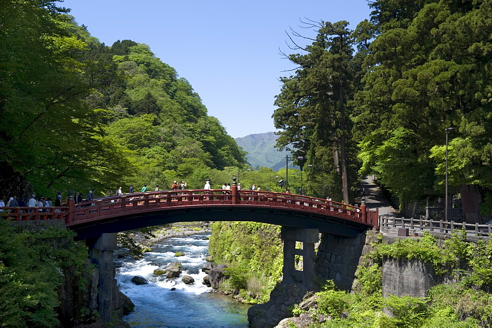 Famous Futarasan Shrine Shinkyo (Sacred Bridge) in the town of Nikko, Tochigi Prefecture, Japan, Asia