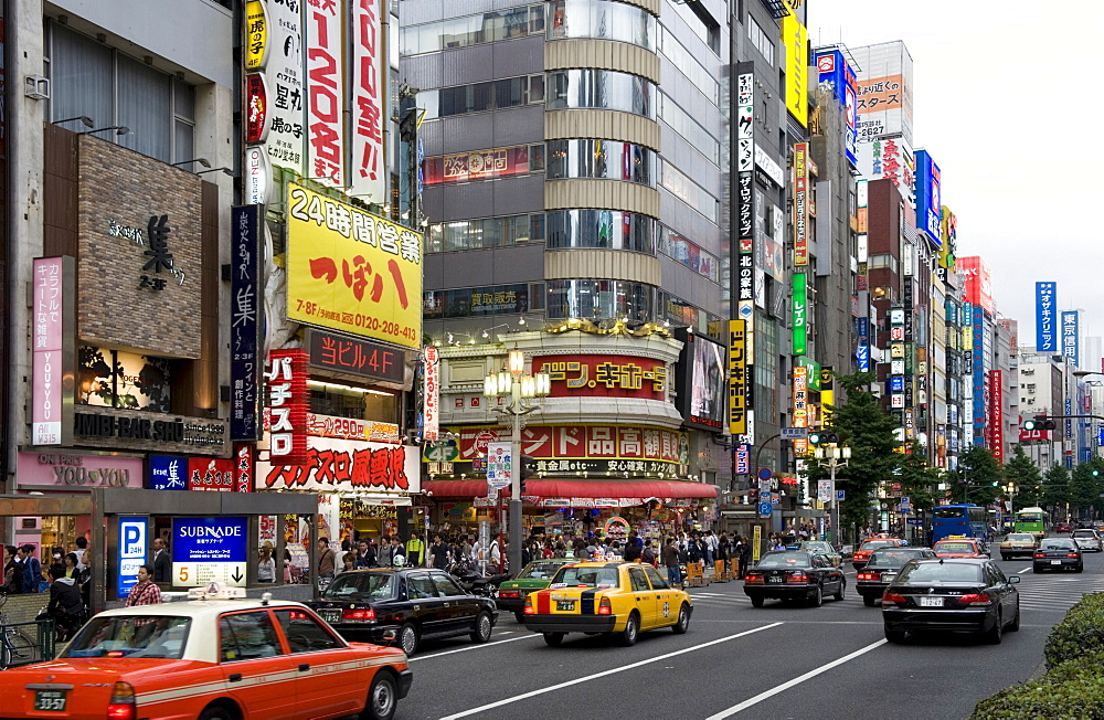 Neon signs light up the Kabukicho entertainment district in Shinjuku, Tokyo, Japan, Asia - 822-241