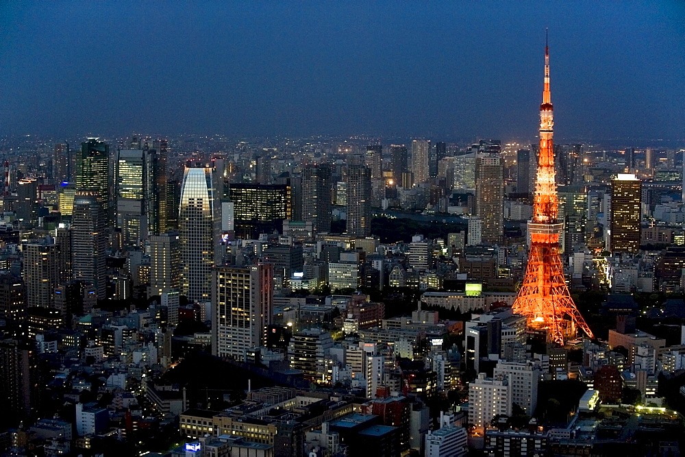 Aerial view of metropolitan Tokyo and Tokyo Tower from atop the Mori Tower at Roppongi Hills, Tokyo, Japan, Asia - 822-246
