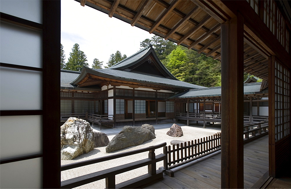 Dry landscape garden (Banryutei) at Buddhist Shingon sect Kongobuji Temple on Mount Koya, Wakayama, Japan, Asia - 822-261