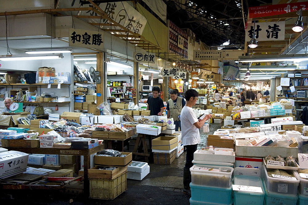 Interior view of sales stalls at Tsukiji Wholesale Fish Market, the world's largest fish market in Tokyo, Japan, Asia - 822-270