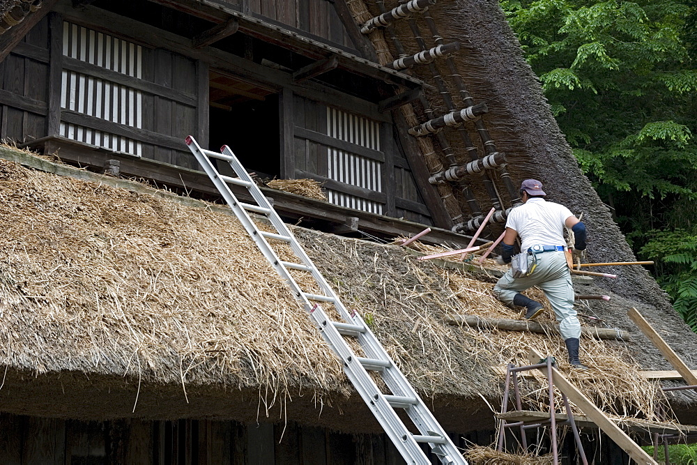 Village residence roof thatching at Nihon Minkaen (Open-air Folk House Museum) in Kawasaki, Japan, Asia - 822-273