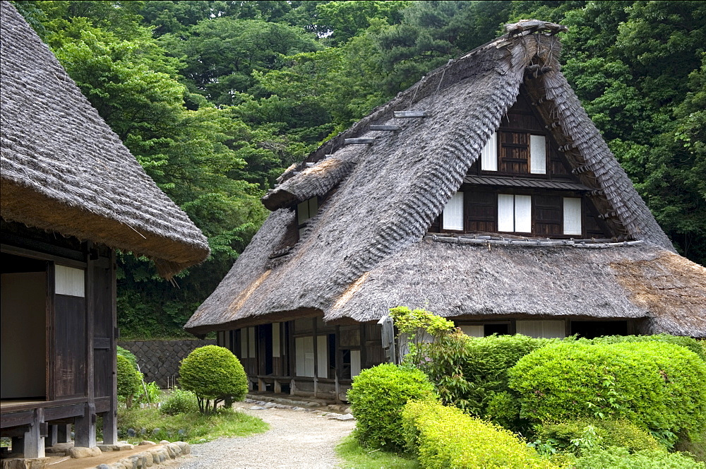 Thatched roof village residences at Nihon Minkaen (Open-air Folk House Museum) in Kawasaki, Japan, Asia - 822-274