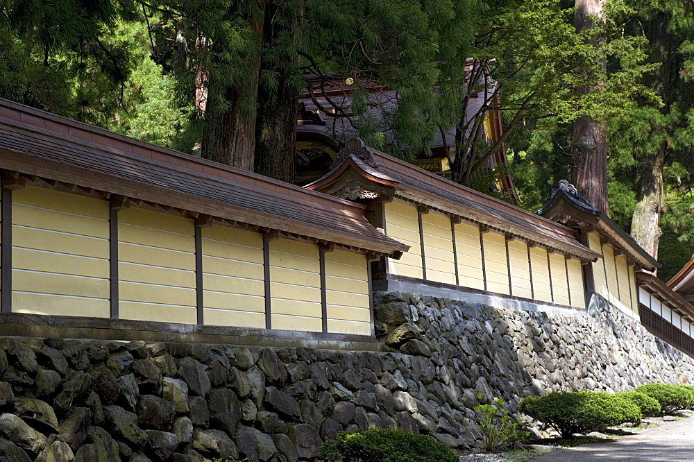 Perimeter wall at Eiheiji Temple, headquarters of Soto sect of Zen Buddhism, in Fukui, Japan, Asia - 822-28