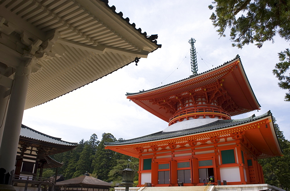 Konpon Daito (Great Stupa) pagoda at the Dai Garan Buddhist temple area of Mount Koya, Wakayama, Japan, Asia - 822-314