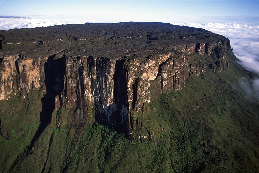 Aerial image of Tepuis showing summit of Mount Roraima (Cerro Roraima), Venezuela, South America