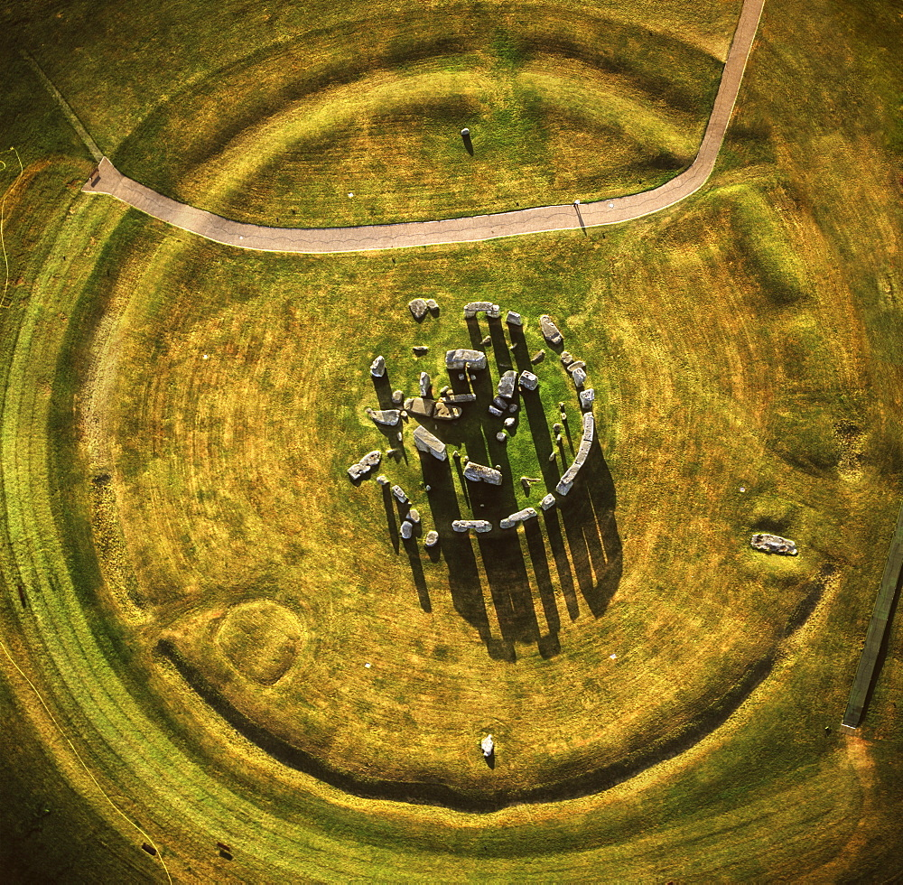 Aerial image of Stonehenge, prehistoric monument and stone circle, UNESCO World Heritage Site, Salisbury Plain, Wiltshire, England, United Kingdom, Europe - 823-53