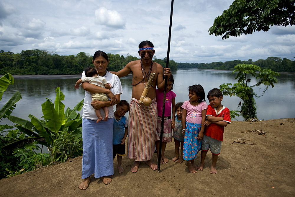 The village Syndico of Suwa community with his family, Amazon, Ecuador, South America - 824-103