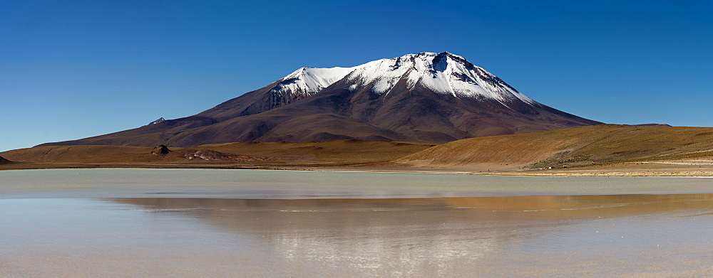 At the edge of a salt lake high in the Bolivian Andes, Bolivia, South America  - 824-127