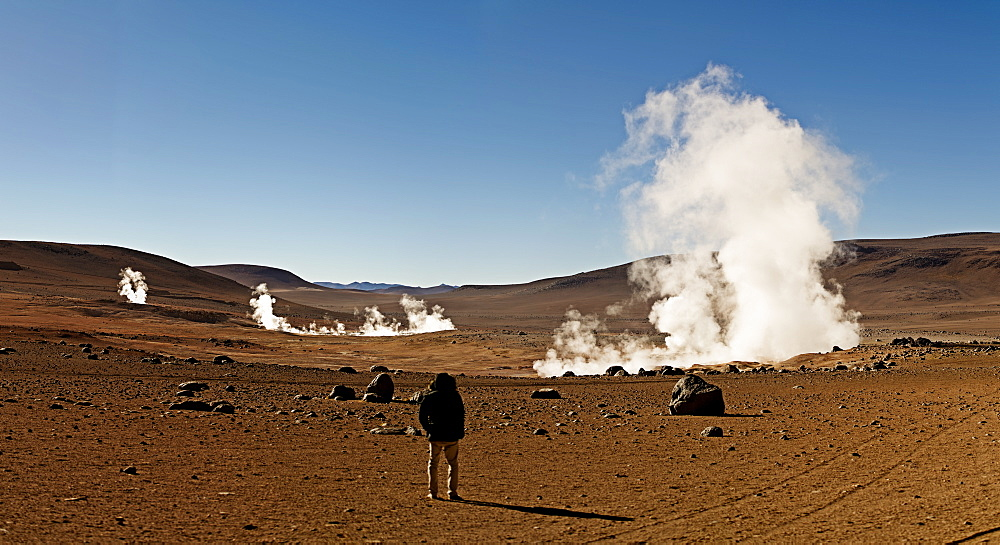 The Sol de Manana geysers, a geothermal field at a height of 5000 metres, Bolivia, South America  - 824-128