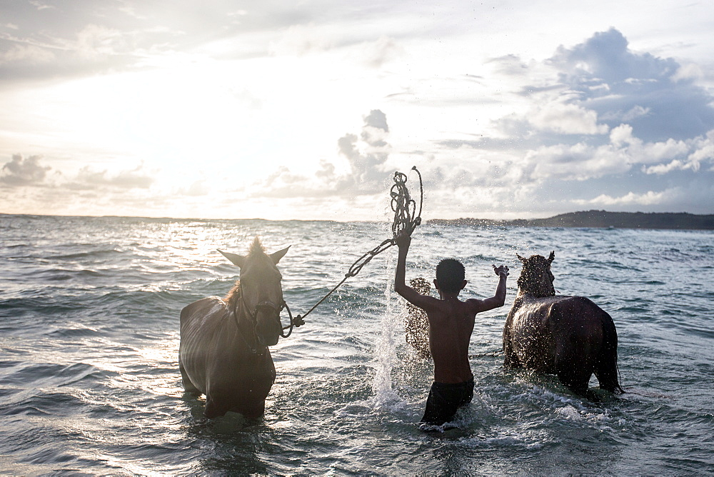 Two young boys and their horses play in the ocean in Nihiwatu, Sumba, Indonesia, Southeast Asia, Asia - 824-147