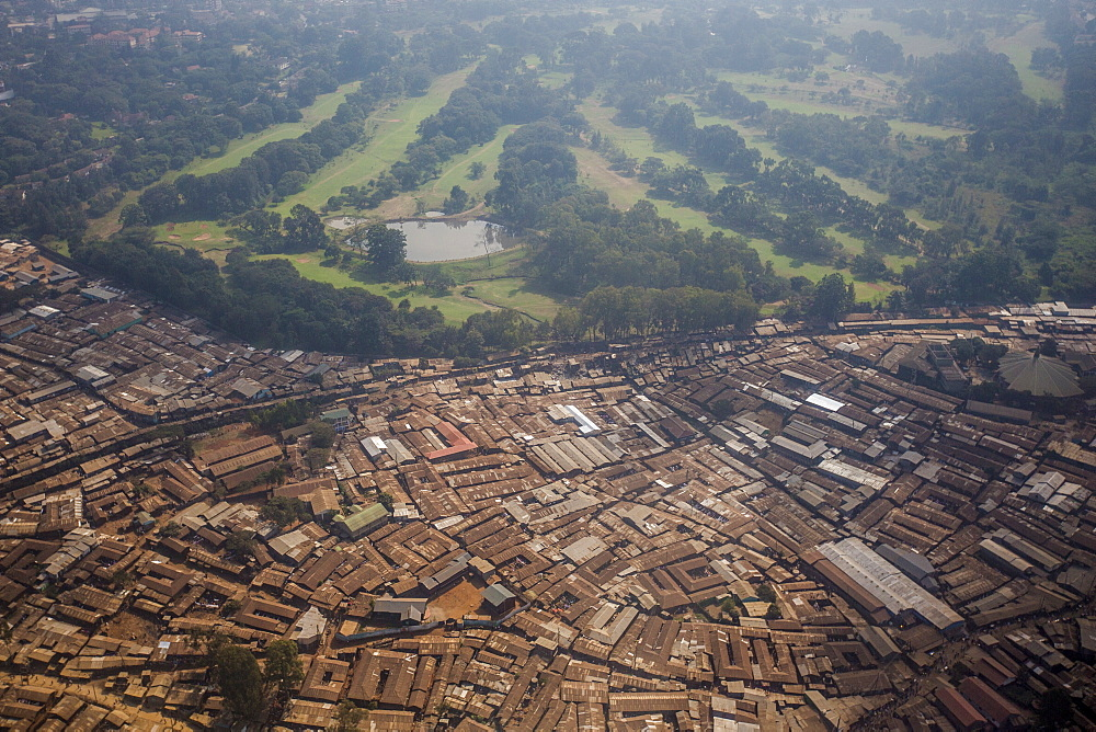 Aerial view of a slum on the outskirts of Nairobi, Kenya, East Africa, Africa