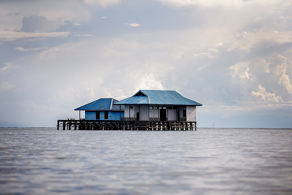 A house over the ocean, Togian Islands, Sulawesi, Indonesia, Southeast Asia, Asia  - 824-177