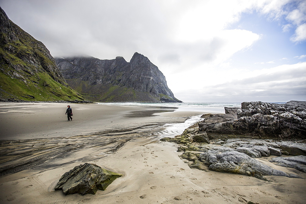 Kvalvika beach, Lofoten Islands, Norway, Scandinavia, Europe - 824-186