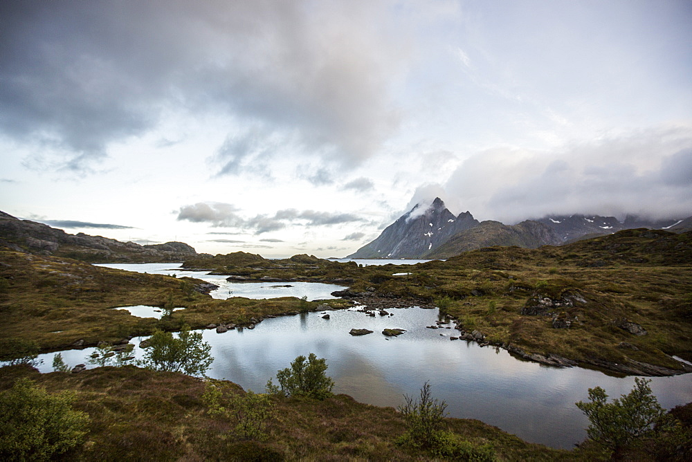Landscape taken with the midnight sun in Moskenesoy, Lofoten Islands, Norway, Scandinavia, Europe - 824-188
