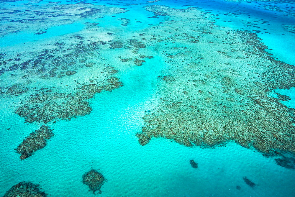 An aerial view of the Great Barrier Reef, UNESCO World Heritage Site, Queensland, Australia, Pacific - 824-190