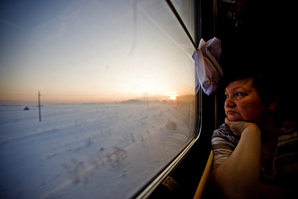 Valya on the Trans Siberian railway, Siberia, Russia, Europe - 824-69