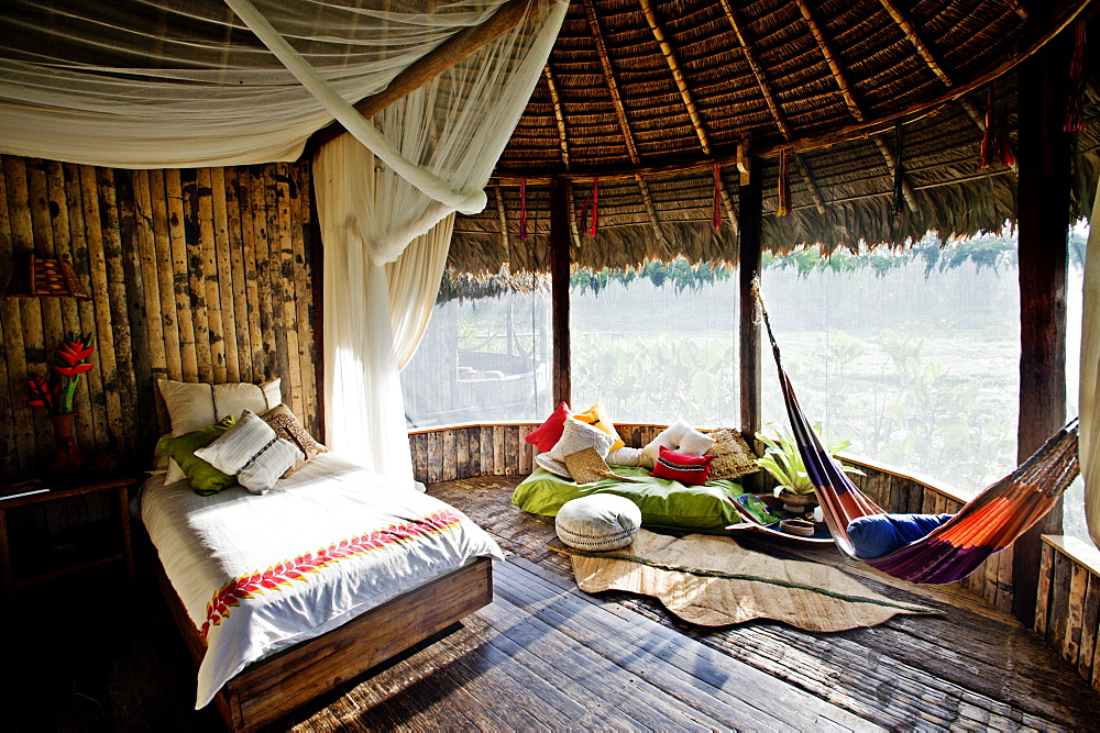 A hotel room at Kapawi Ecolodge, Amazon, Ecuador, South America - 824-76