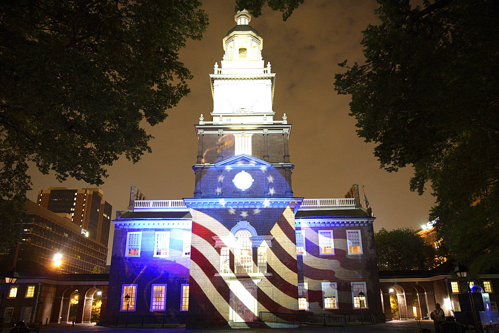 Independence Hall illuminated at night with sound and light show in Philadelphia, Pennsylvania, United States of America, North America - 825-114