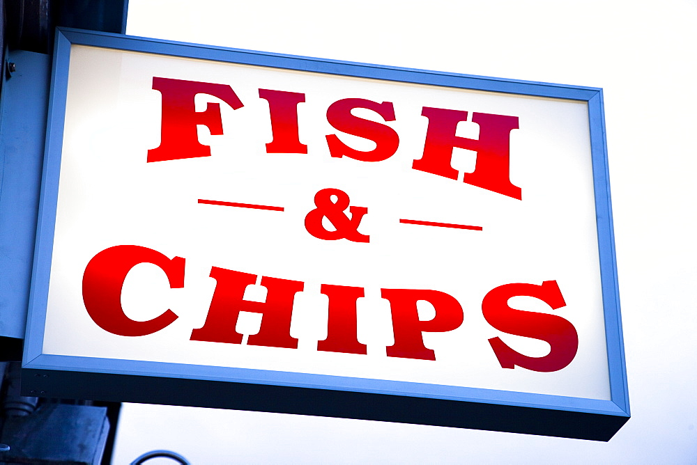 Fish and chips sign in Conwy, Clwyd, Wales, United Kingdom, Europe - 825-168
