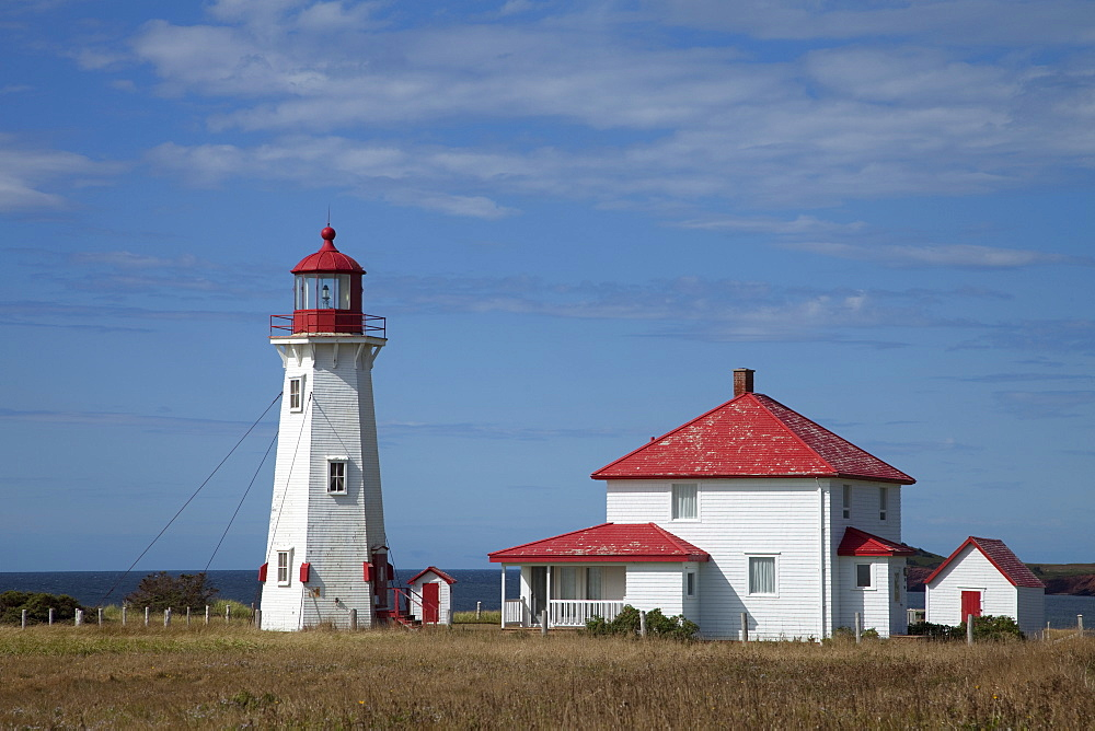 A lighthouse on the island of Havre-Aubert, Iles de la Madeleine (Magdalen Islands), Quebec, Canada, North America - 825-199