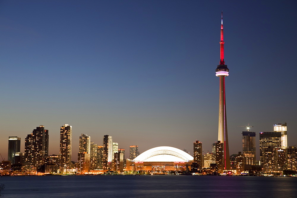 Skyline of city with CN Tower and Rogers Centre, previously The Skydome, Toronto, Ontario, Canada, North America - 825-205