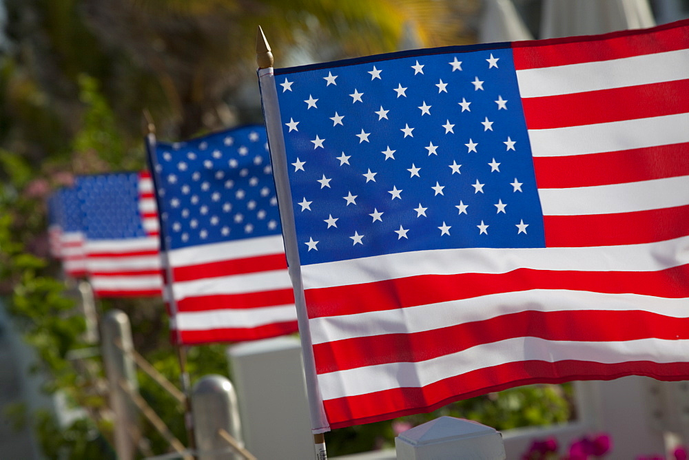 US flags attached to a fence in Key West, Florida, United States of America, North America
