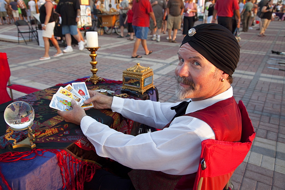 Psychic reading cards with crystal ball in Mallory Square, Key West, Florida, United States of America, North America